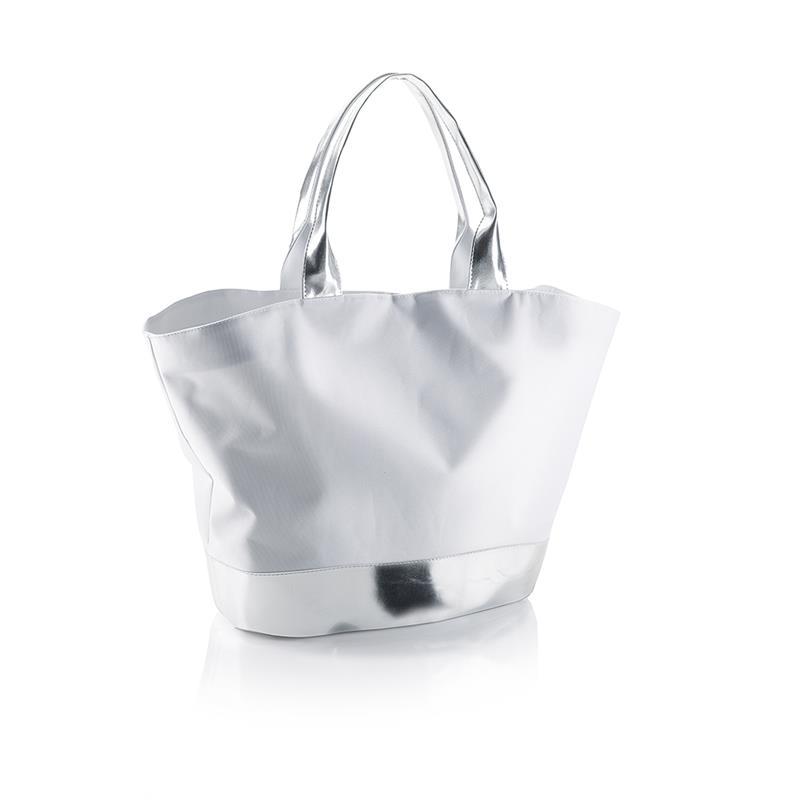 borsa mare in tessuto grigio con dettagli silver chiusura bottoncino