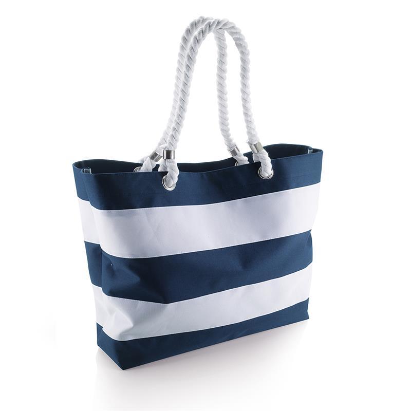 borsa in tessuto blu navy e bianco con manici in corda