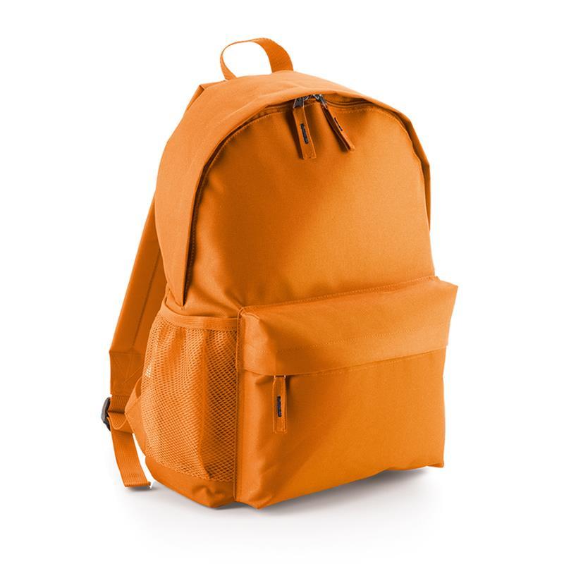 zaino in tessuto arancio tasca frontale schienale imbottito
