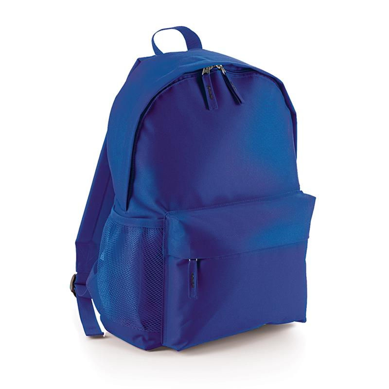 zaino in tessuto blu royal tasca frontale schienale imbottito