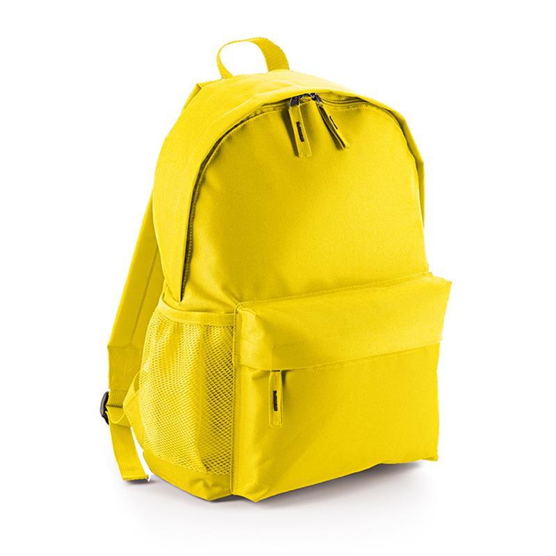 zaino in tessuto giallo tasca frontale schienale imbottito