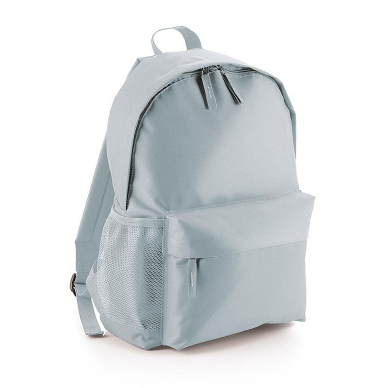 zaino in tessuto grigio tasca frontale schienale imbottito