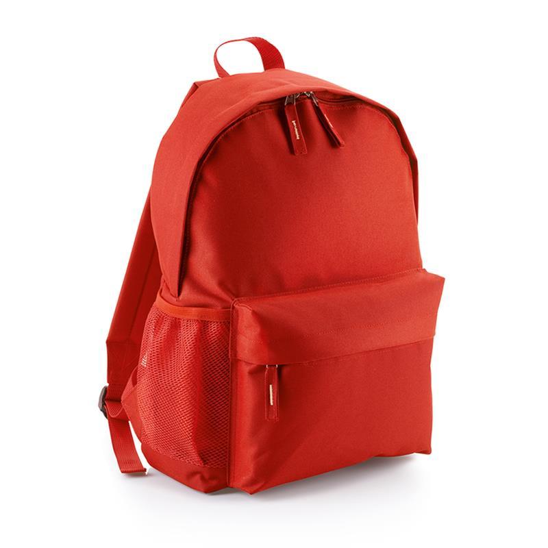 zaino in tessuto rosso tasca frontale schienale imbottito