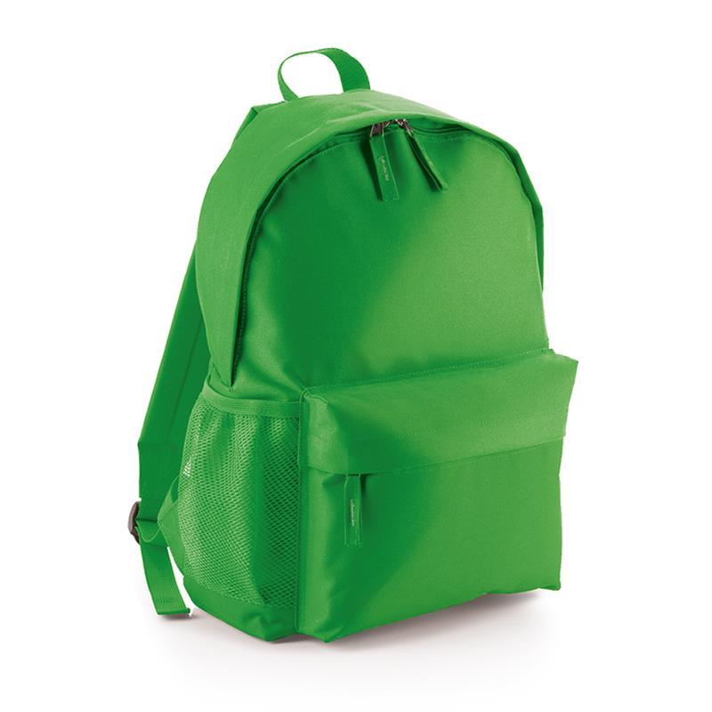 zaino in tessuto verde chiaro tasca frontale schienale imbottito