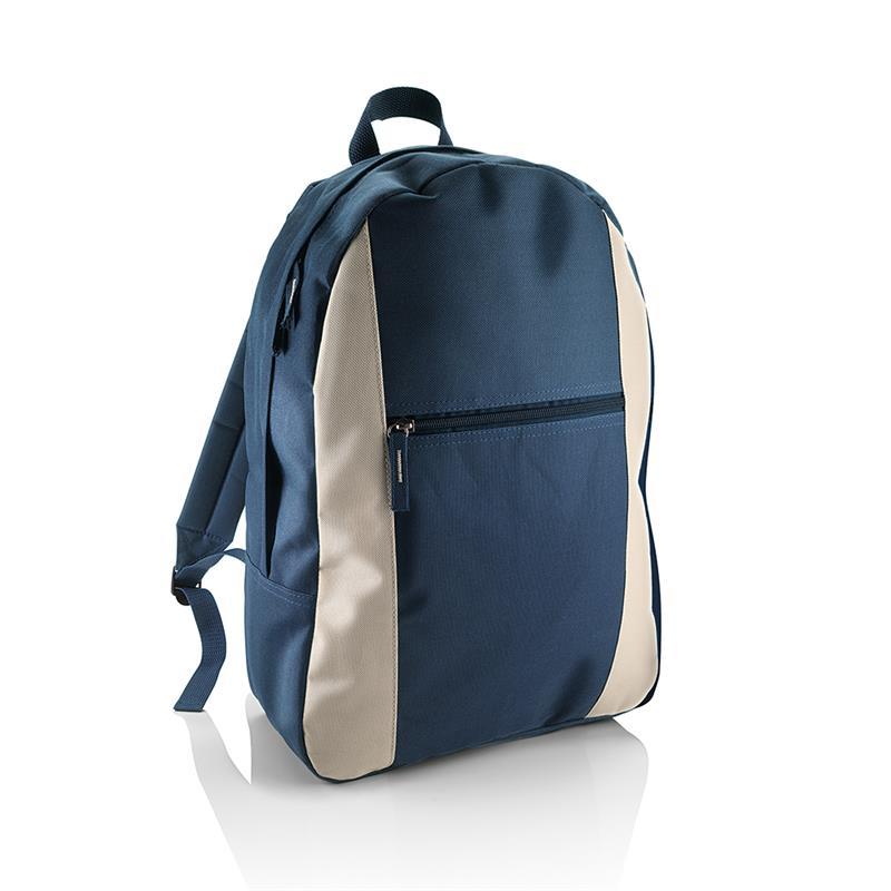 zaino in tessuto blu navy e beige con tasca frontale con zip