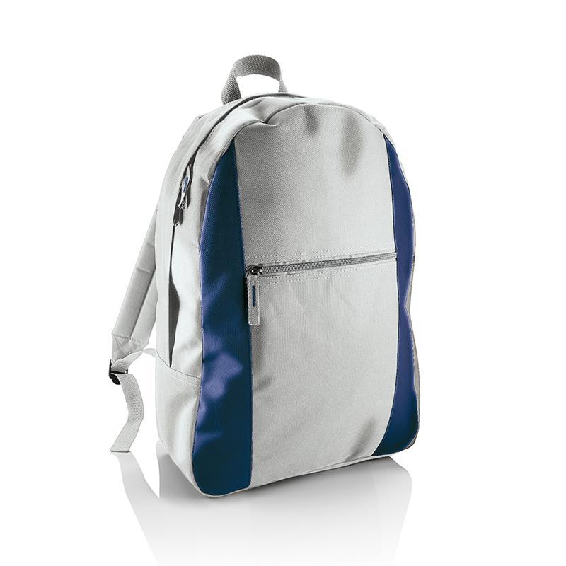 zaino in tessuto grigio e blu avio con tasca frontale con zip