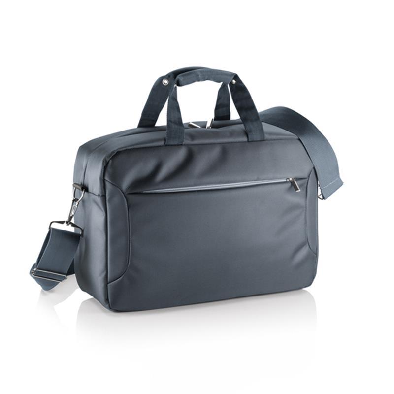 borsa porta computer in tessuto grigio