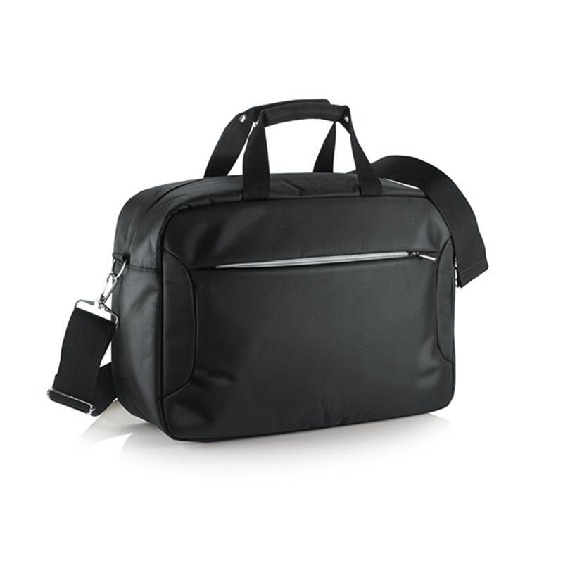 borsa porta computer in tessuto nero