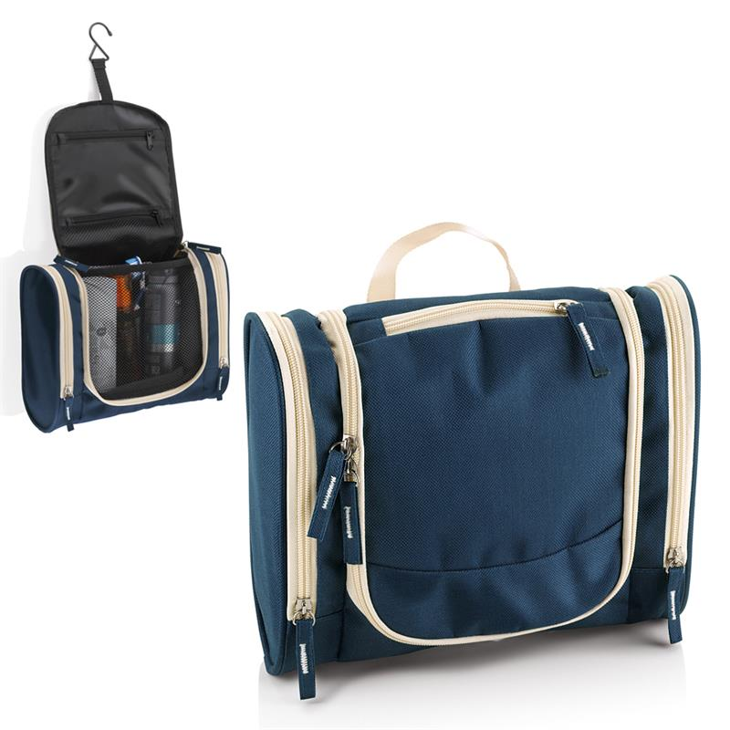 beauty case blu navy con comparto principale accessoriato