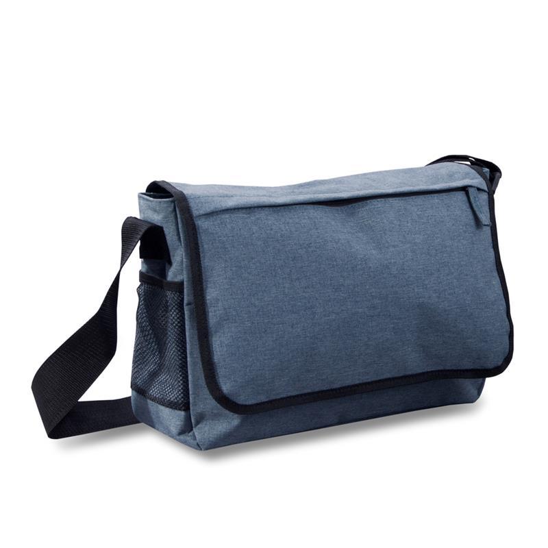 tracolla blu navy finitura jeans vari comparti con zip