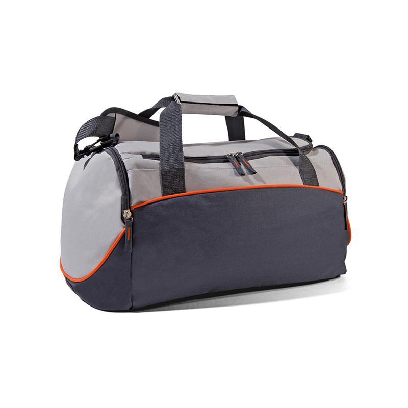 borsa in tessuto grigio e arancio con apertura a pozzetto