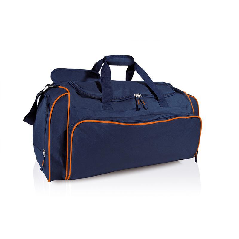borsa in tessuto blu navy e arancio comparto con apertura a pozzetto