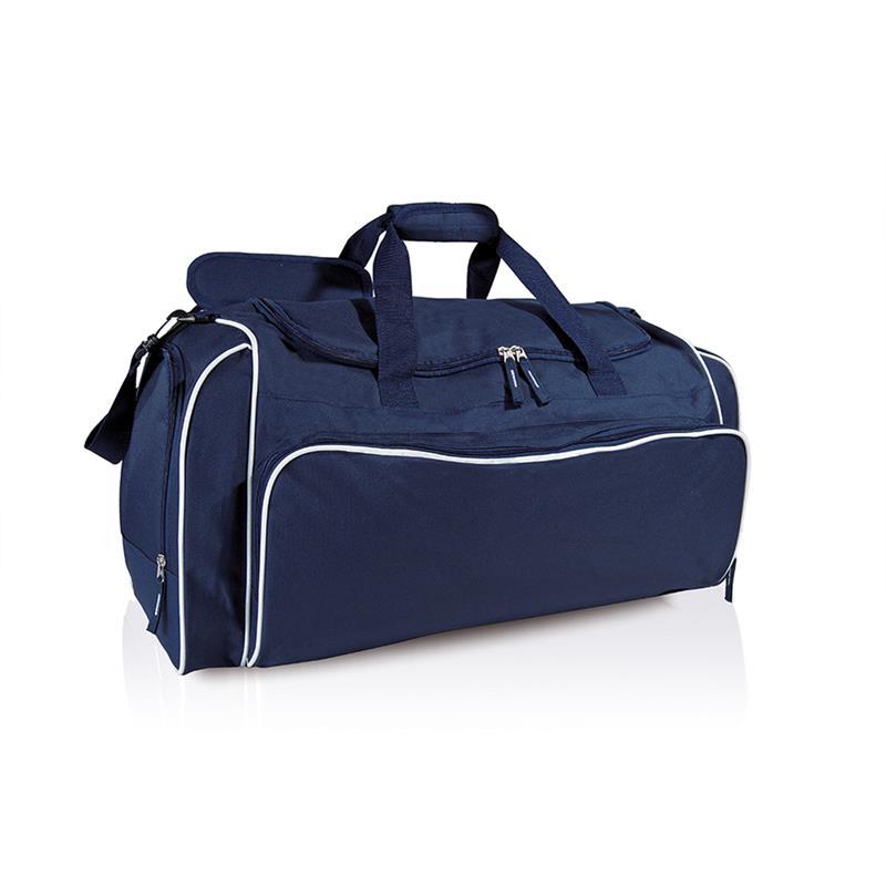 borsa in tessuto blu navy e bianco comparto con apertura a pozzetto