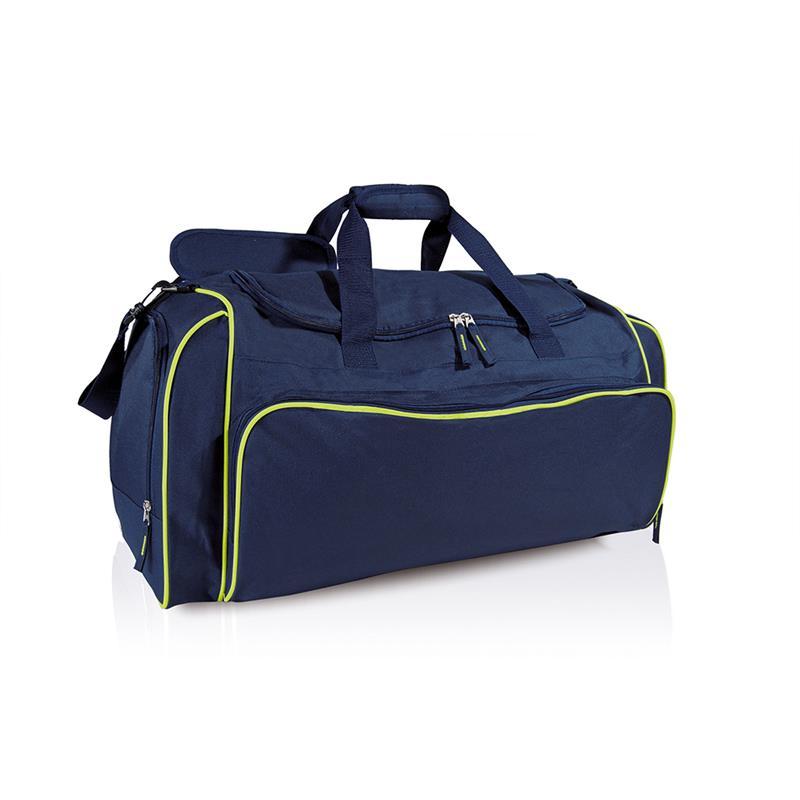 borsa in tessuto blu navy e lime comparto con apertura a pozzetto