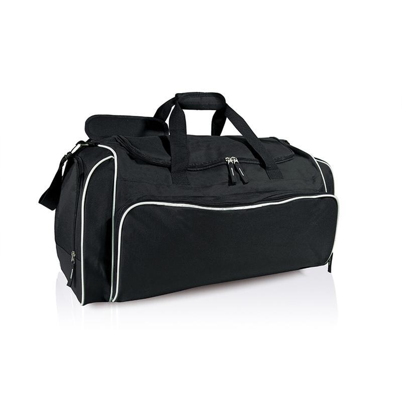 borsa in tessuto nero e bianco comparto con apertura a pozzetto