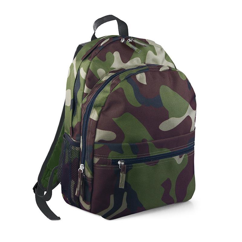 zaino in tessuto camouflage tasca frontale schienale imbottito