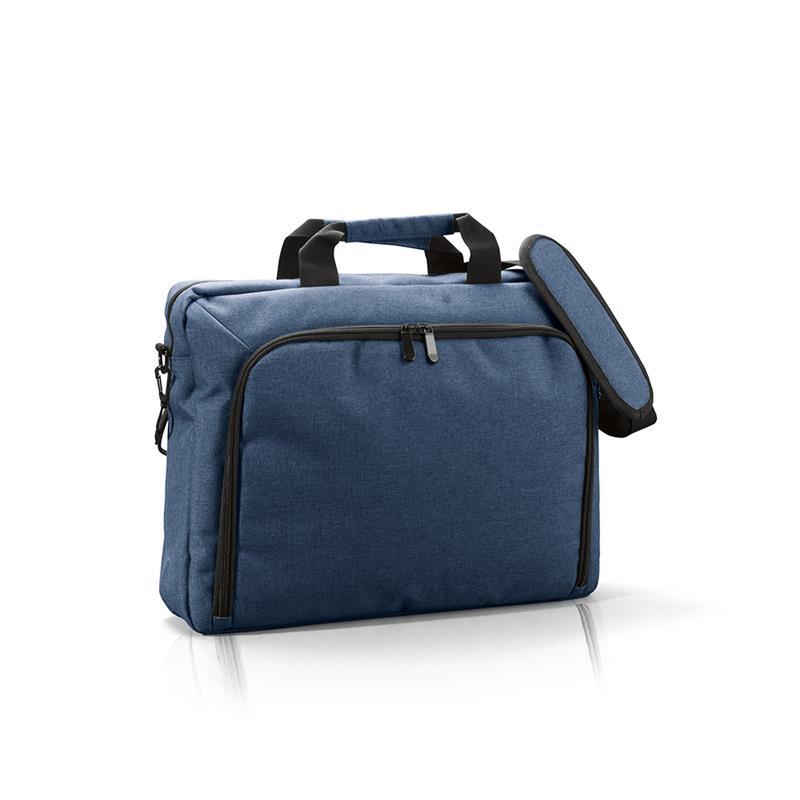 borsa porta computer in tessuto melange blu navy