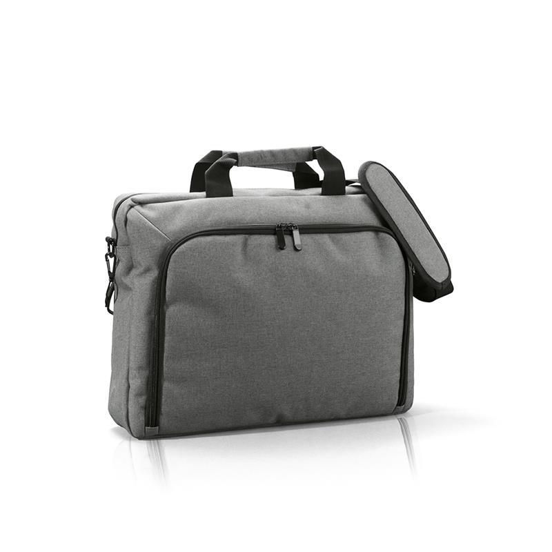borsa porta computer in tessuto melange grigio
