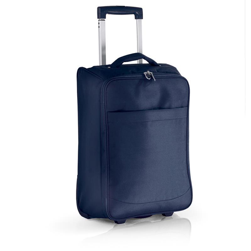 trolley in tessuto blu navy con cinghie di fissaggio tasche e zip