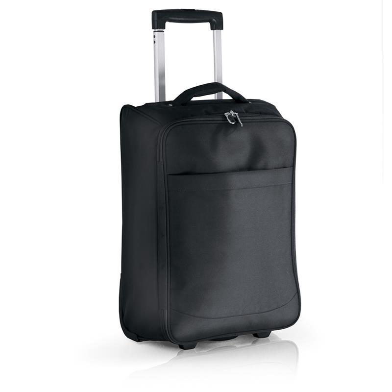 trolley in tessuto nero con cinghie di fissaggio tasche e zip