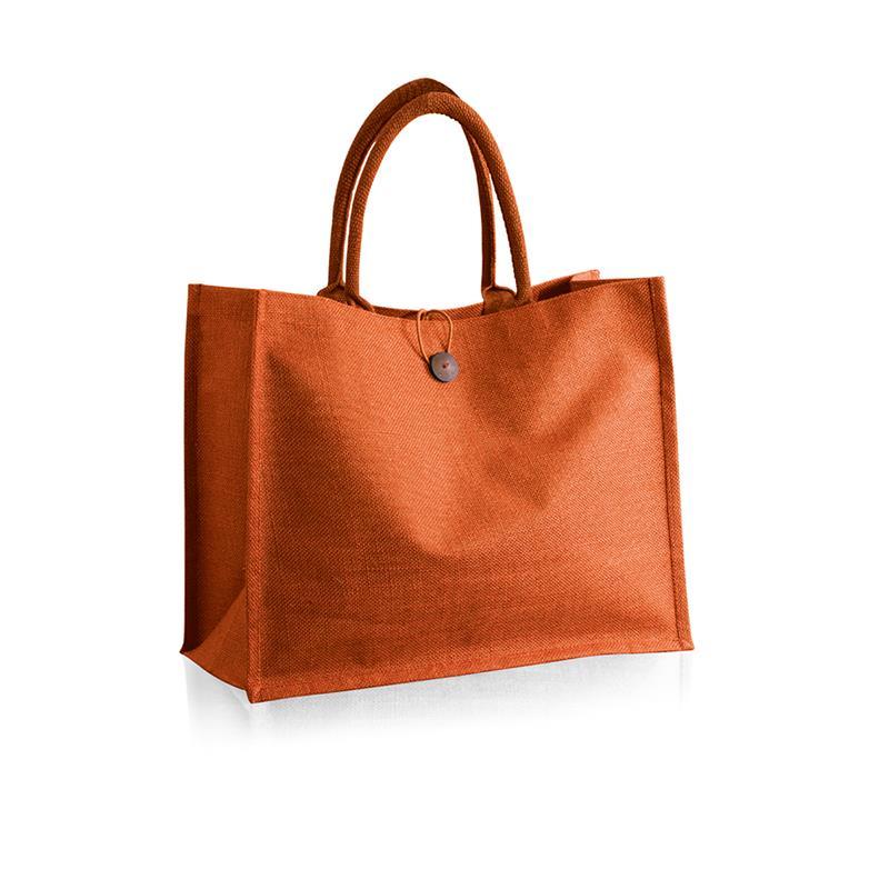 borsa mare arancio in juta impermeabilizzata con bottone
