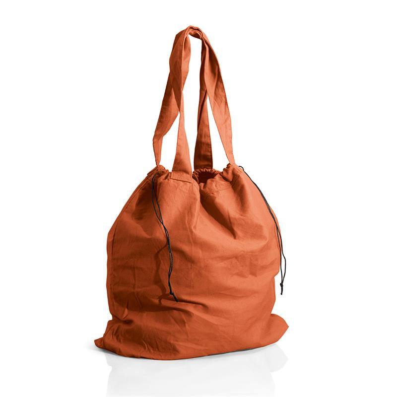 borsa mare a sacco in cotone pesante arancio chiusura a strozzo