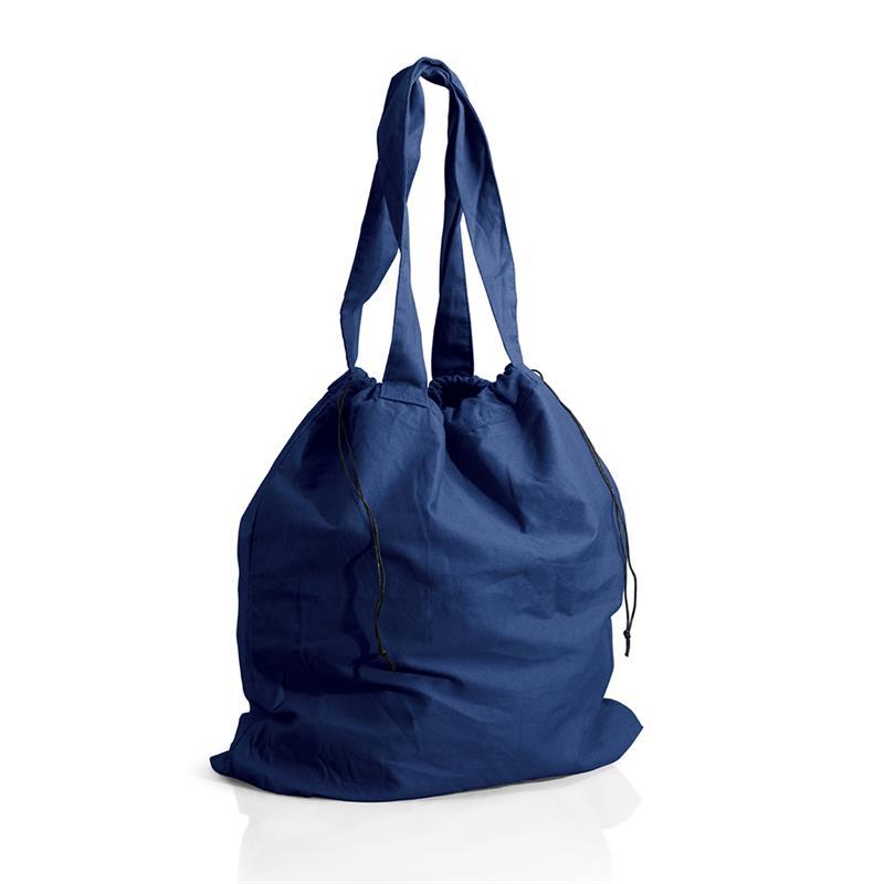 borsa mare a sacco in cotone pesante blu navy chiusura a strozzo