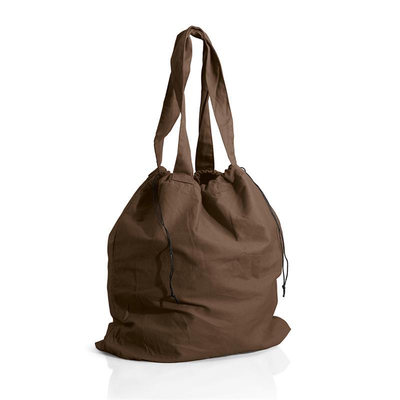 borsa mare a sacco in cotone pesante marrone chiusura a strozzo