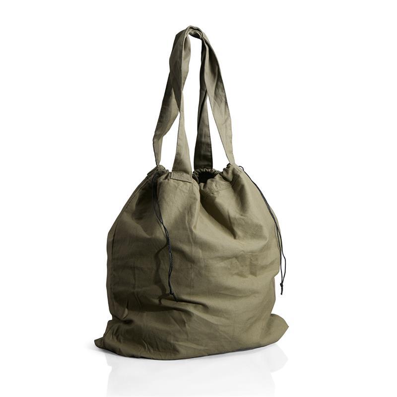 borsa mare a sacco in cotone pesante verde scuro chiusura a strozzo