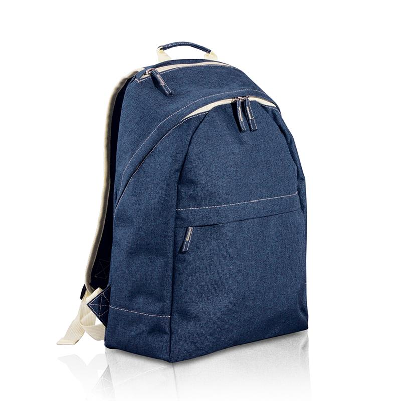 zaino in tessuto melange blu navy con tasca frontale e zip