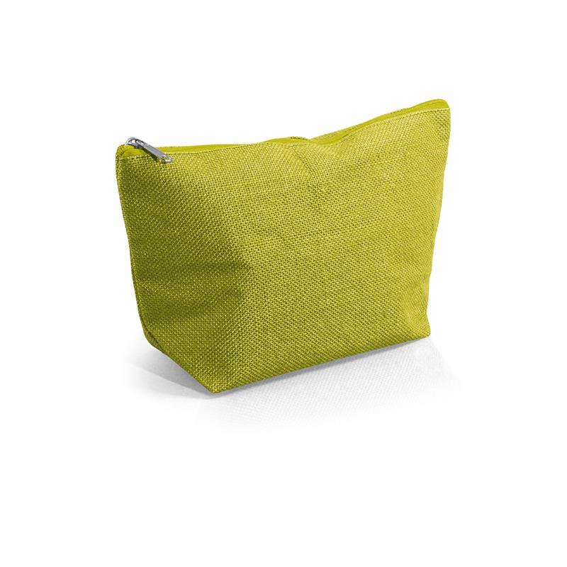 beauty case lime in juta impermeabilizzata con zip