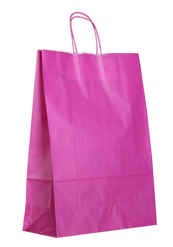 shopper in carta kraft magenta manico cordino