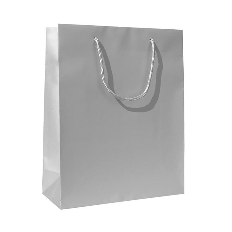 shopper in carta patinata argento opaco manico cotone