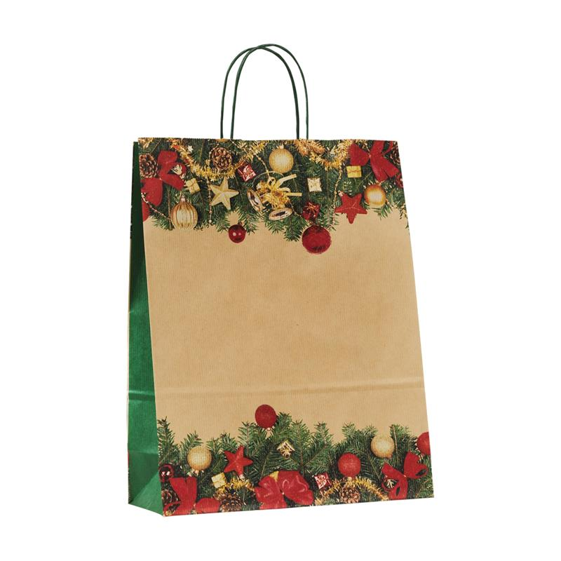 shopper in carta sealing avana fantasia natalizia manico cordino verde