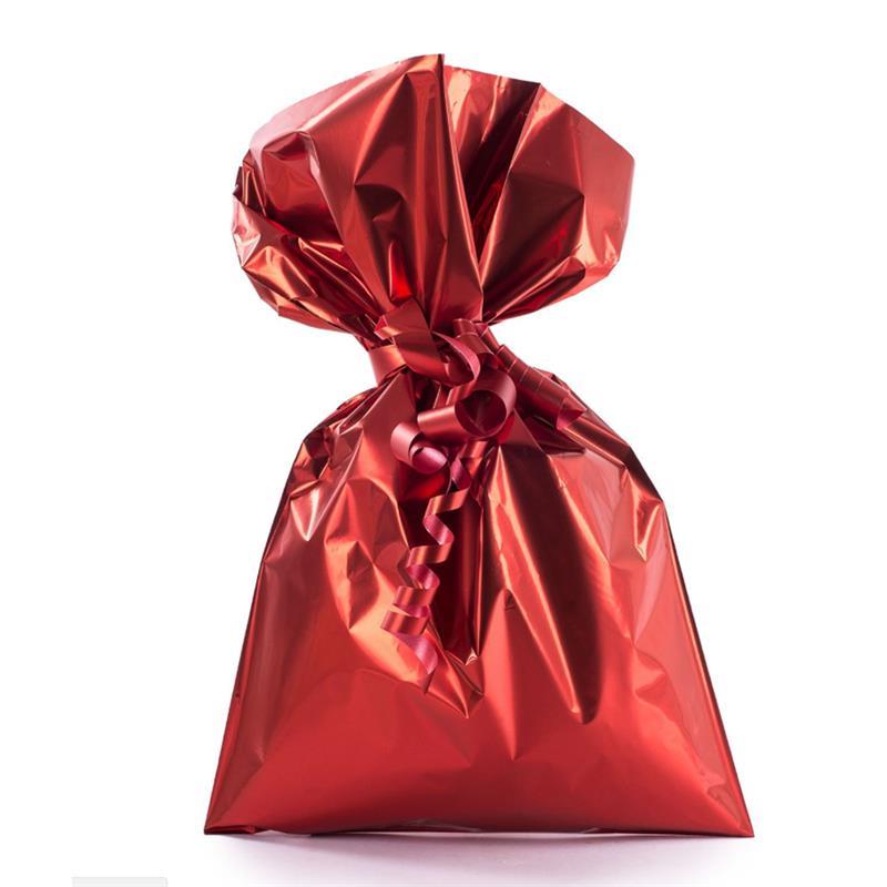 sacchetto in plp rosso satinato senza maniglia