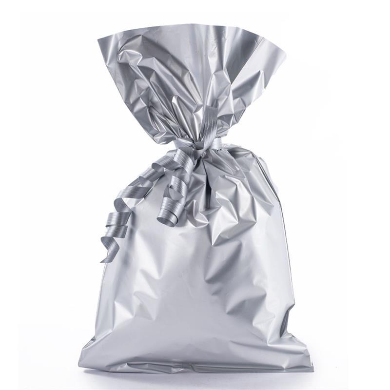 sacchetto in plp argento satinato senza maniglia