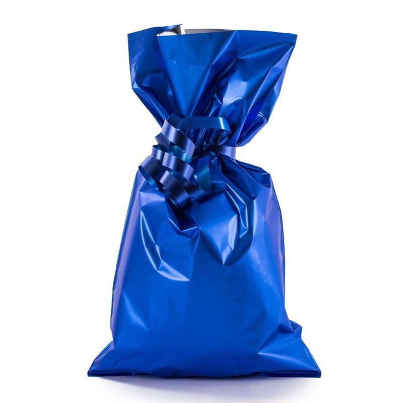 sacchetto in plp blu satinato senza maniglia