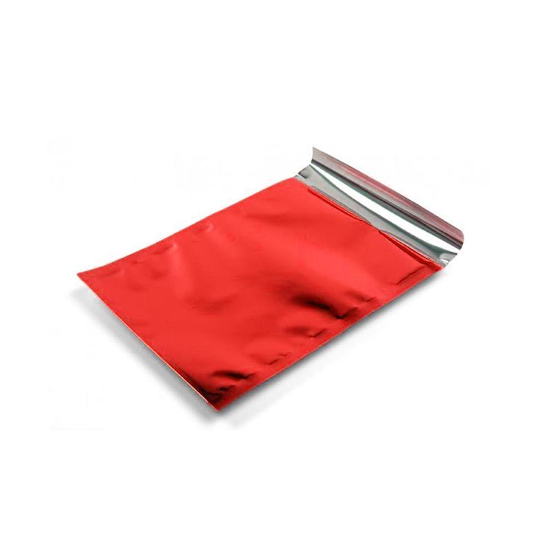 sacchetto in plp rosso satinato con patella adesiva
