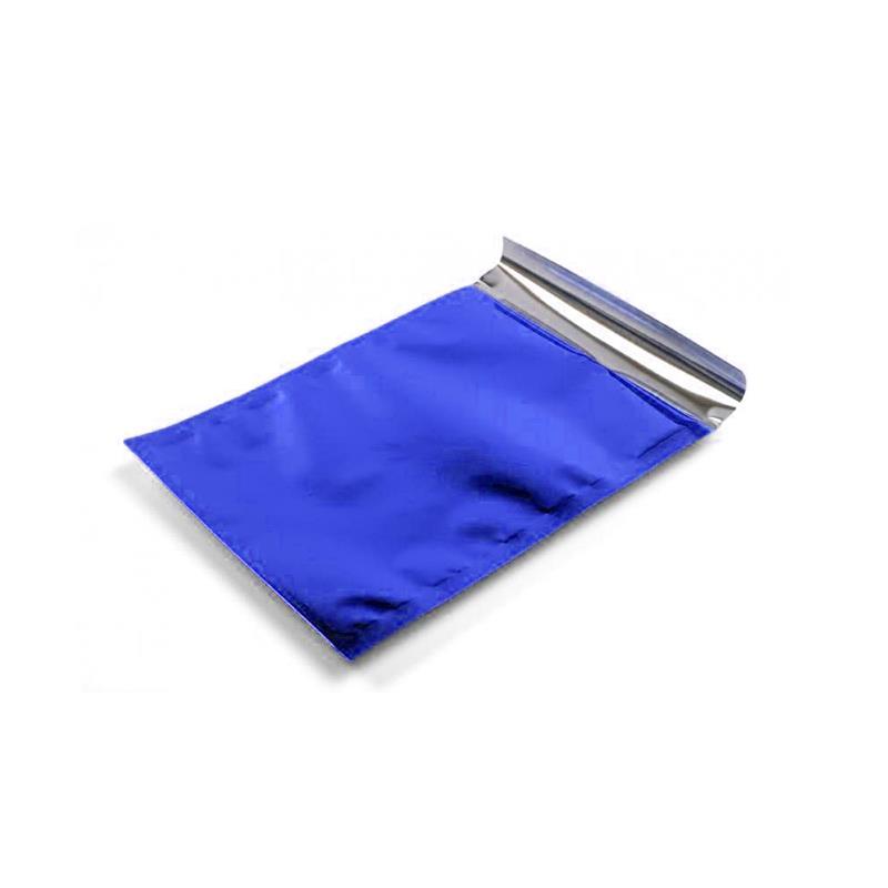 sacchetto in plp blu satinato con patella adesiva