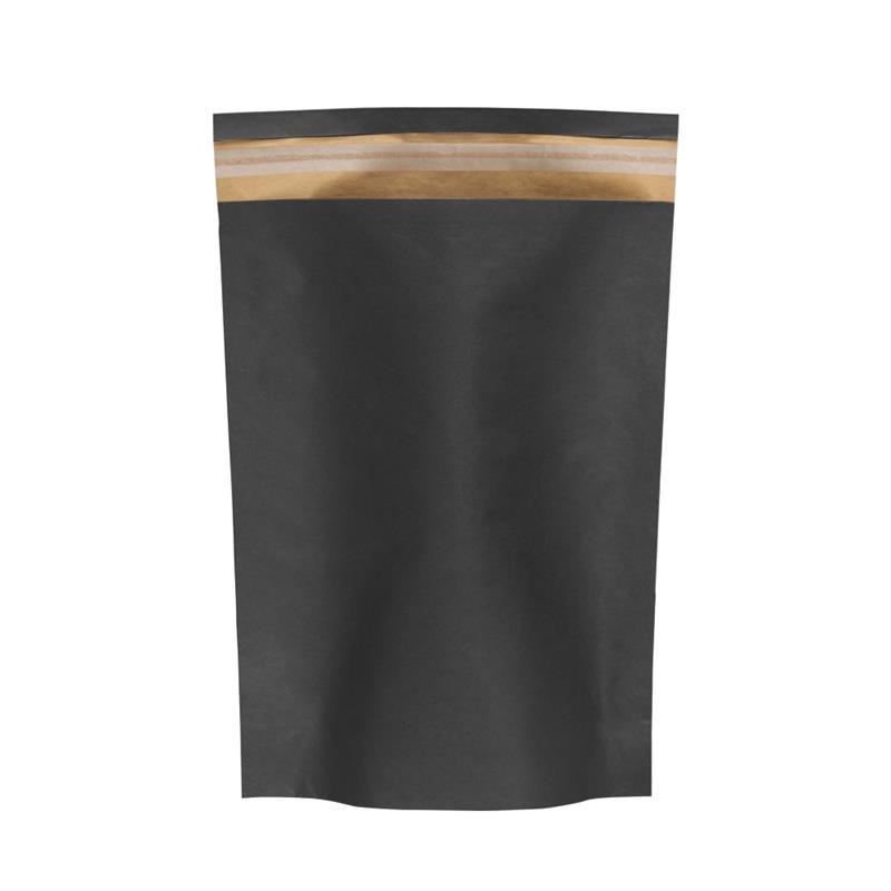 sacchetto in carta avana fondo nero senza maniglia con patella adesiva