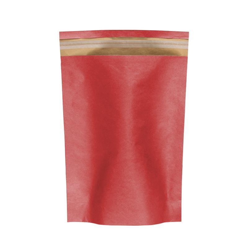 sacchetto carta avana fondo rosso senza maniglia con patella adesiva