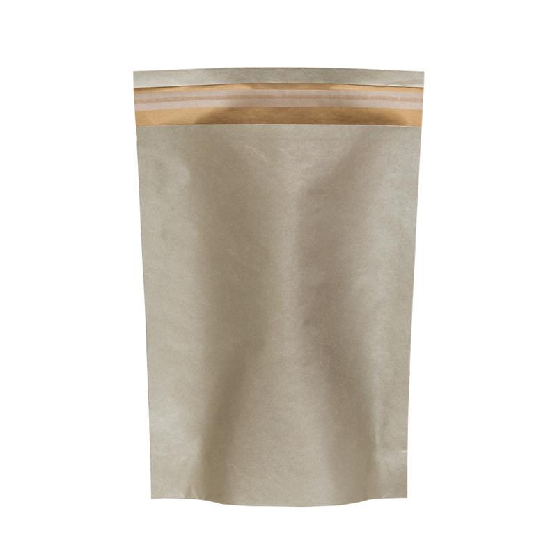 sacchetto carta avana fondo platino senza maniglia con patella adesiva