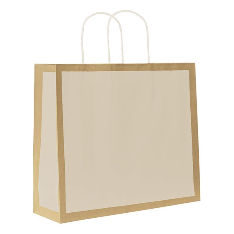 shopper in carta riciclata avana riquadro avorio manico cordino