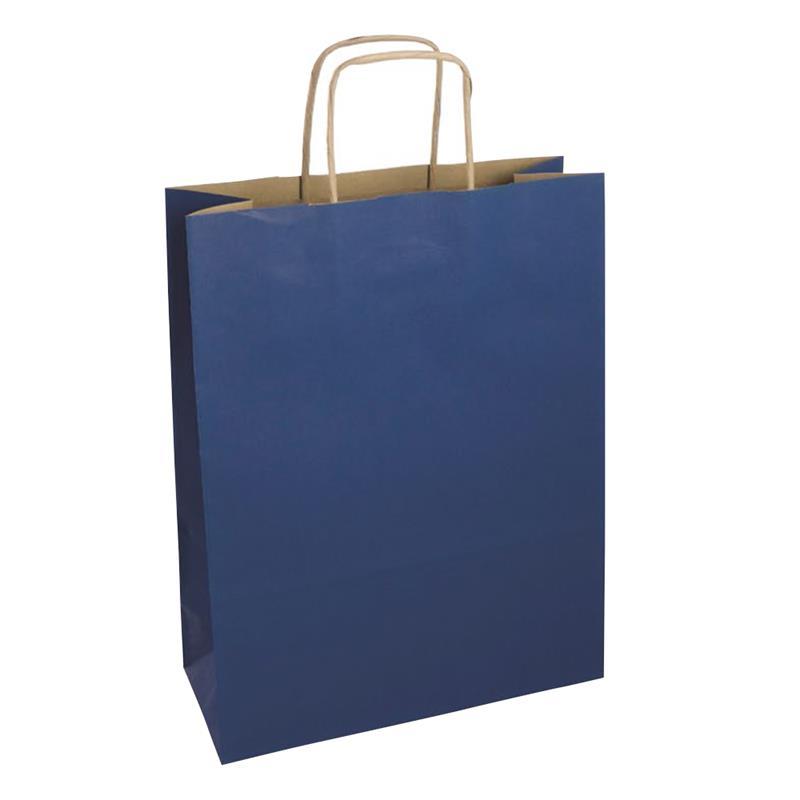 shopper in carta riciclata avana blue manico cordino
