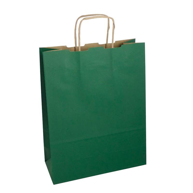 shopper in carta riciclata avana verde manico cordino