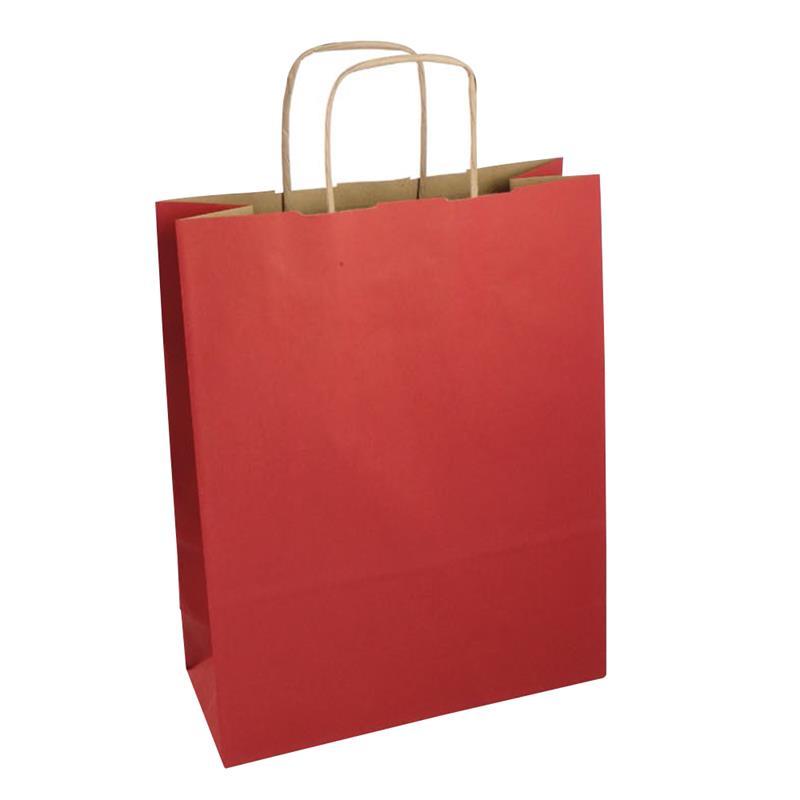 shopper in carta riciclata avana rossa manico cordino