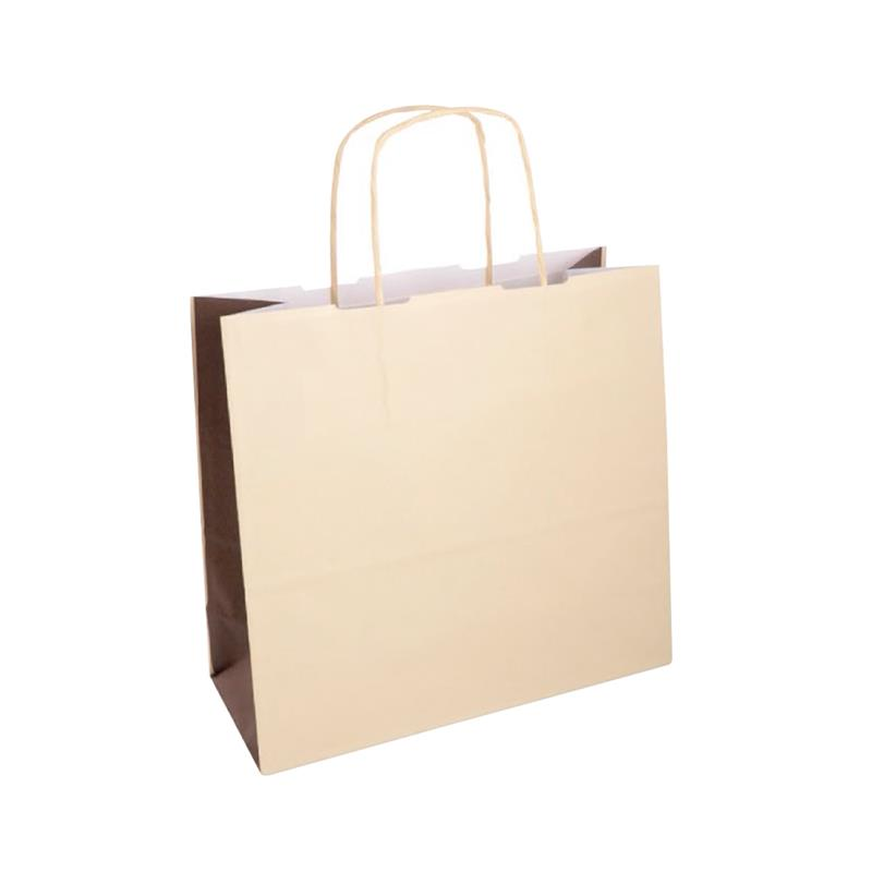 shopper bicolore carta kraft beige/marrone manico cordino
