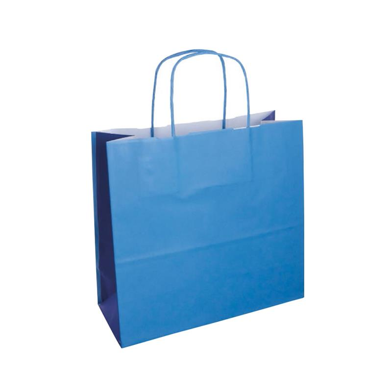 shopper bicolore carta kraft blu chiaro/blu manico cordino