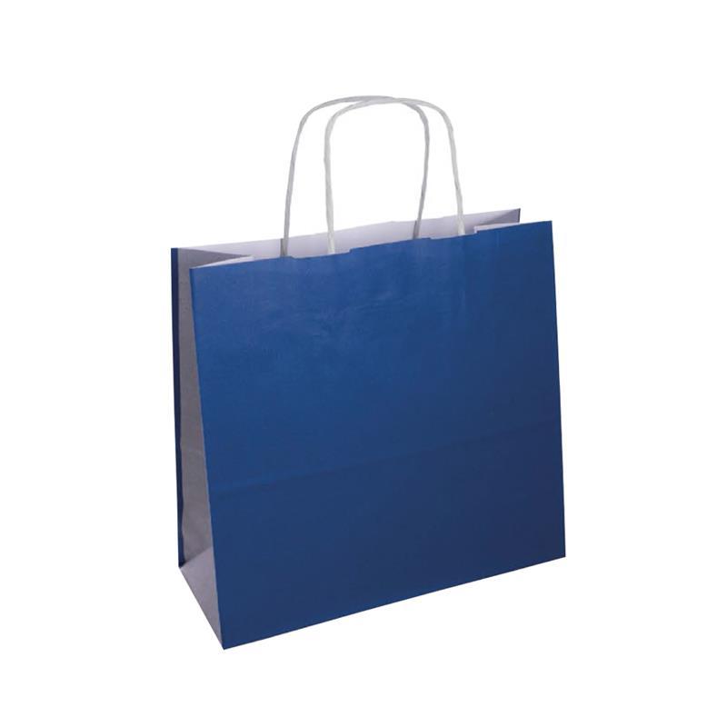 shopper bicolore carta kraft blu/argento manico cordino
