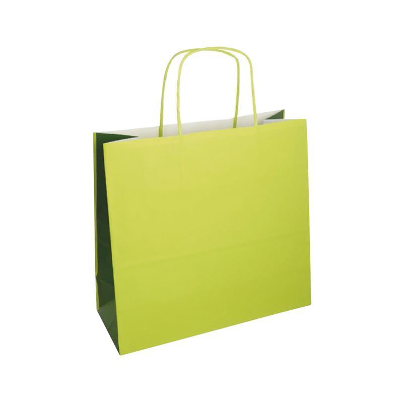 shopper bicolore carta kraft verde acido/verde manico cordino